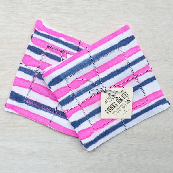 Pink + Blue Stripe Cockatil Coaster